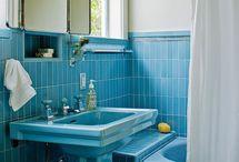 My 1964 retro vintage blue bathroom