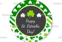 St Patricks Day Green Shamrocks Irish Party / This collection features a green and white shamrock on a chalkboard frame. The background consists of white shamrocks on green, green shamrocks and green and white stripes.