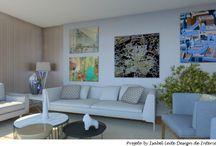 Projeto - Sala Contemporanea / Projeto by Isabel Leite - Sala estilo contemporâneo/moderno com cores claras, onde o contraste fica direcionado nos quadros. Este tipo de projeto agrada, principalmente, os amantes de obras de artes, pois, seu contexto foi pensado para que, na troca dos quadros, não haja restrições.