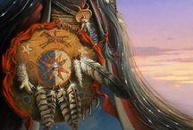 indios na arte da pintura em tela