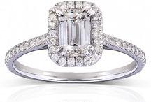 Emerald-Cut Diamond Halo Engagement Ring & Bridal Set / Our new Engagement Ring & Bridal Set edition. Emerald-Cut Diamond Halo. / by Kobelli.com