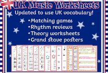 UK Worksheets and Games / Music and piano teaching resources using UK terms and spellings.