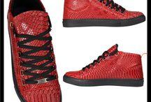 Heren Hoge Rode Python Sneakers