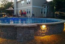 Above ground pool landscape