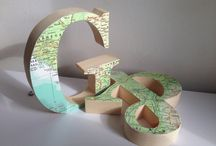 Travel Theme Wedding by TDH / Travel Theme Wedding Decorations, Map decoupage Pine wood letters, Ply wood and free standing wedding centre pieces, Mr. & Mrs. sign, Wooden Letters, Vintage Maps, Garlands etc by TDH