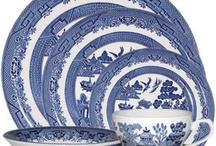 blue willow china sets & Pink China sets