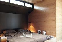 House Inspirations / Court yards, wood, brick, large glass, plants, steel, light.