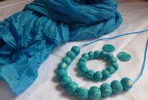 Letní šperky / Letní korále a náramek se šátkem pareo