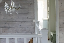 white painted wood wall