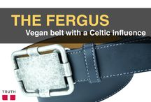 "The Fergus Vegan Belt / This is a special belt. - Only 78 of this style were made! The Fergus features a antique silver buckle that has a Celtic influence. The Fergus is also 100% vegan. The  ""leather"" is made of polyurethane and recycled car tire filler. Neat! www.truthbelts.com $69.00 / by Truth Belts - Vegan Fashion"