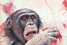 Bonobo Wildlife  Art / Bonobo artwork and other wildlife and landscape scenes by Charity Oetgen!  Visit artbycharity.com or inspiringraindrops.org for more information.