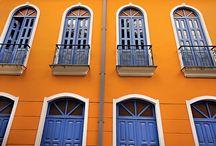 laranja e azul