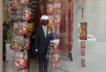 Isaia's windows display in Milano dedicated to the San Gennaro's collection and to the helmet 'o Miraculato