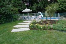 Pool area hardscaping using reclaimed granite