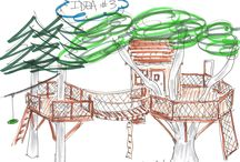 Artist Sketch / Artist sketches and site plans from custom Barbara Butler tree houses