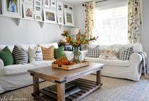 living room, white sofas