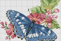 haft krzyżykowy motyle