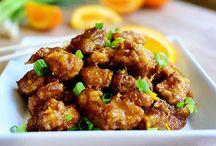 pollo a la oriental en salsa de naranja