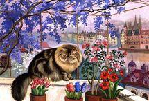 Коты Татьяны Родионовой / наивная живопись