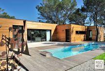 Reportage photo : une piscine dans le Gard / Installé sur un jardin dans le Gard en Languedoc-Roussillon, découvrez ce magnifique couloir de nage réalisé par Piscinelle.
