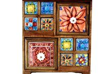 Handmade Wooden Chest with Ceramic Drawers / Collection of wooden chest with colorful hand painted ceramic drawers in several shapes and sizes.