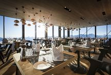 ICE Q, Solden, Austria / New ski retreat 'Ice Q' in Austria, void lights and slab chairs by Tom Dixon.