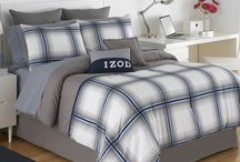 Masculine bedding and interiors