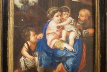 MADONNA CON BAMBINO PRIMO '800 / Tempera su pergamena del primo '800 misure cm. 16,5 x 20. Madonna con bambino, San Giovannino e San Giuseppe.