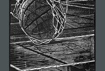 LINORYT / cykl linorytu inspirowany koszykówką wielkość pracy 30x40 prace własne