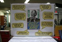 Nelson Mandela Book Display / Books and video display about Nelson Mandela.