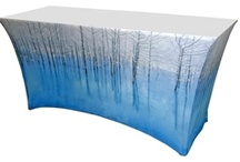 Trade Show Table Covers / Custom Printed Logo Table Covers for Trade Shows make your display table complete! Great selection of fabrics & colors with a stunning full color digital print!