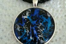 Glass circle nail polish pendant / Made from a variety of nail polish and crackle set in a silver tray with leather cord.