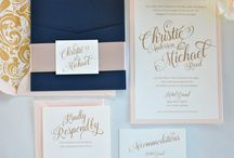 navy and gold wedding invites