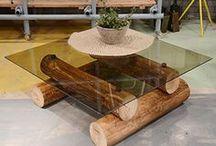 artesanato com troncos de árvores