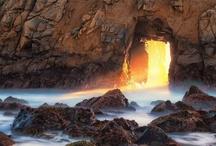 shoreline and sun