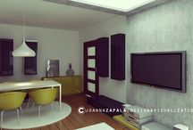 Living Room Concept Design Ideas / #interiordesign #livingroom #design #modern #ideas #concrete #modernarchitecture  #design #wood #greenlinear — #Kraków #joannazapala