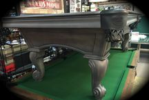Olhausen Santa Ana Pool Table / Brand new Smoke on Maple finish with hidden cue & accessory storage drawer and double diamond mother of pearl and ebony rail sights