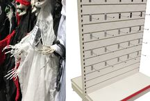 Halloween display, Halloween display shelving, Halloween retail display.