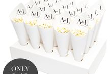Wedding confetti cone packages with biodegradable petals