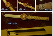 Handcrafted and crochet gift items / Λαμπάδες handmade greek easter candles