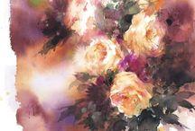 Róże - akwarela
