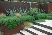 Corten planters and retaining walls