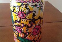 Flower Vase Pickle Jar / This used to be a pickle jar, i up cycled it and hand painted it with acrylic paint and now it's beautiful vase or centerpiece one of my many beautiful things!