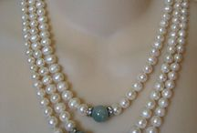 3 Strand Pearl Necklace with Mottling Jade Beads by… Etsy