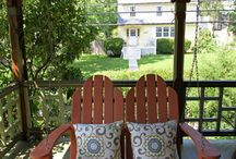 Our Front Porch / We have a wrap around porch on our stick style victorian. I have spent the summer trying to freshen it up. http://www.statelykitsch.com/category/our-house/porch/ / by Heidi Sentivan