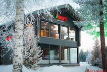 Hauptsitz Kieppi / Kieppi ist der Name der Hauptverwaltung von Rovaniemi Blockhäuser Unternehmen, in Weihnachtsmanndorf in Rovaniemi, Lappland, Finnland. Es ist ein schönes Beispiel für eine nachhaltige finnischen Blockhaus Bau und Handwerkskunst.