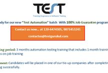 """Job Guarantee / How about Automation Testing Training Program with 100% Job Guarantee?  TEST Gurukul is going to start the new batch for """"Test Automation"""" with 100% Job Guarantee.  • Training period: 3 months automation testing training that includes 1 month training and 2 months on-job training  • Placement: Candidates will be placed in one of our tie-up companies after completing their training successfully.  Register now or call us at: +911206474305 , +919871453241"""