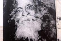 Portraits de Bachelard en paraffine... / Portraits réalisé sur planche de bois, peinte en noir 100 x80 cm