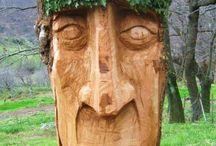 sculpture bois tronçonneuse / quelques sculptures bois taillées dans un tronc à la tronçonneuse