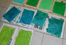 colore verde / intrecci di carta colorata con tempera